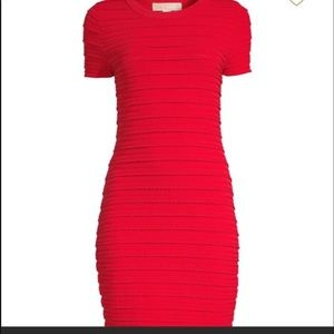 NWT Michael Korda Red Ruffle Dress XS
